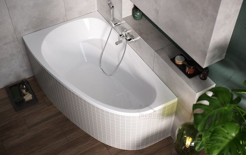Badewanne Eckbadewanne 160x95 cm Acryl mit //ohne Wannenträger Befliesen JN links